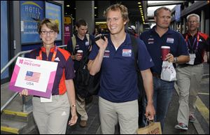 Graham Biehl and the U.S. Olympic sailing team arrived Monday at London's Heathrow Airport.
