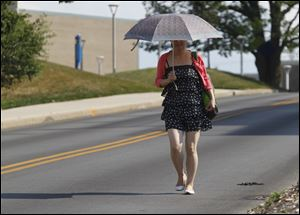 University of Toledo student Raio Sho tries to shield herself from the sun while walking on campus. Temperatures are expected to reach the low 90s today.