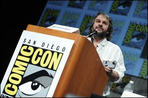 "Peter Jackson speaks at the ""The Hobbit: An Unexpected Journey"" panel at Comic Con."