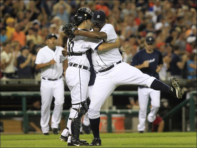 Detroit Tigers relief pitcher Jose Valverde Detroit Tigers relief pitcher Jose Valverde celebrates the Tigers' 4-2 win over the Chicago White Sox with catcher Alex Avila in the ninth inning of a baseball game in Detroit, Friday.