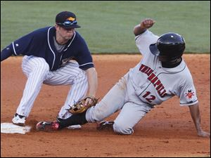 Hen 2nd baseman Cale Iorg tags out Indianapolis' Anderson Hernandez on an attempted steal at Fifth Third Field.