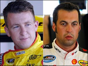 Sam Hornish Jr., right, will continue driving for Penske Racing, while AJ Allmendinger is indefinitely suspended for violating the organizations substance abuse policy.