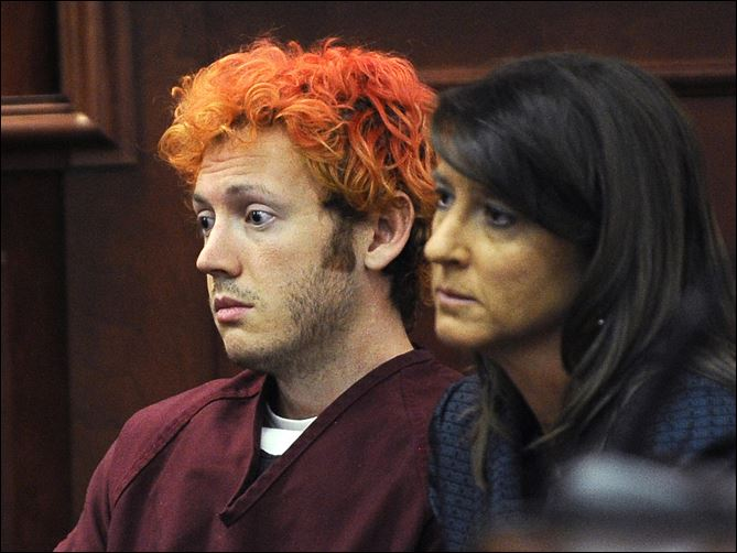 APTOPIX Colorado Shooting Defendant James Holmes appears in Arapahoe County District Court. He didn't speak a word and at one point, closed his eyes.