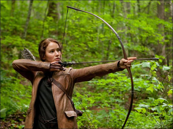 "Jennifer Lawrence portrays Katniss Everdeen in a scene from ""The Hunger Games."""