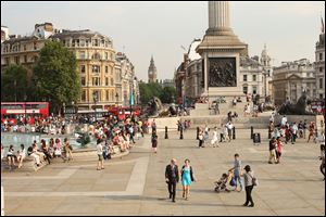 A general view of Trafalgar Square in London. During the Olympics, it often will be said that London is welcoming the world, but the reality is that the city has been doing just that for much of the last 60 years. Truly, Londoners believe, everybody should be able to feel at home here.