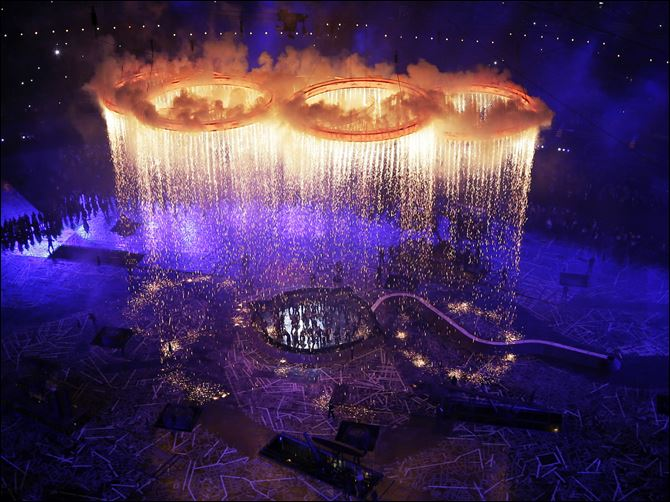 London Olympics Opening Ceremony The Olympic rings light up the stadium during the Opening Ceremony at the 2012 Summer Olympics, Friday, in London.