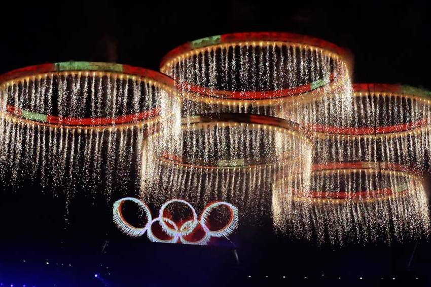 The-Olympic-rings-are-illuminated-during-the-Opening-Ceremony