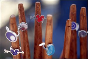 Jewelry by L. Sue Szabo was among the offerings at the juried art fair on Centennial Mall.