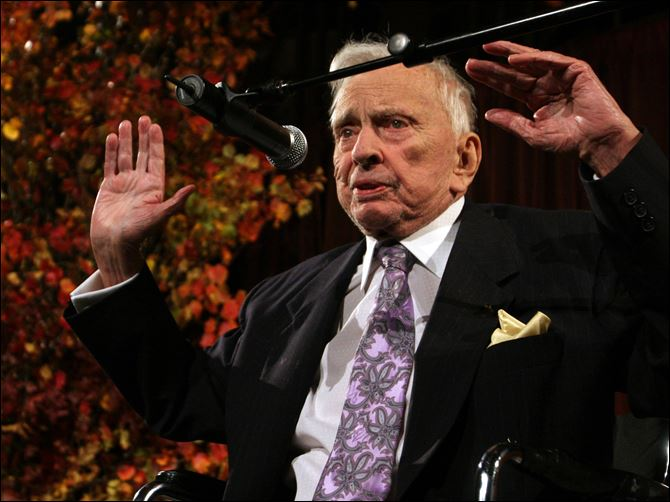 Gore Vidal speaks at the National Book Awards in New York. Vidal died Tuesday, July 31, 2012, at his home in Los Angeles. He was 86.