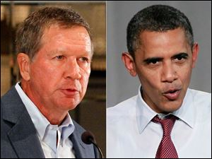 Ohio Gov. John Kasich, left, and President Barack Obama.