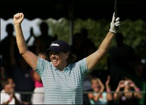 Meg Mallon celebrates her victory in 2004. Her last career tournament was the 2010 Farr. She is the U.S. captain for 2013 Solheim Cup.