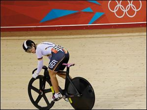 Germany's Kristina Vogel looks back as she competes in a women's sprint quarterfinal event.