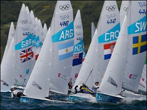 470 fleet compete during the 470 men class race at the London 2012 Summer Olympics.