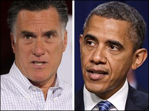 Republican Presidential candidate Mitt Romney, left, and President Obama, right.