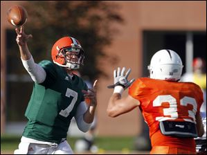 Bowling Green State University quarterback Matt Schilz (7) throws the ball during a scrimmage Saturday.