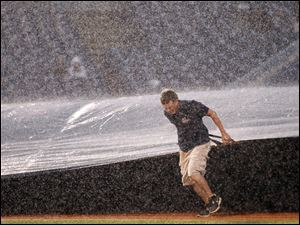 The Mud Hens couldn't complete the series opener after heavy rains forced the stoppage of the game in the bottom of the fourth inning with the score tied 1-1.