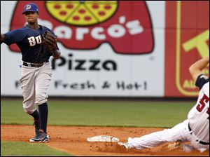 Durham Bulls second baseman Tim Beckham turns a double play asToledo Mud Hens DH John Lindsey slides into second base.