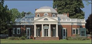 Monticello Foundation shows the home of Thomas Jefferson in Charlottesville, Va.  Several new projects launching this winter will shed light on the slaves who lived and worked at Monticello.
