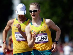 Australia's Jared Tallent competes in the men's 50-kilometer race walk.