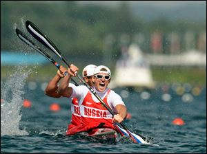Russia's Yury Postrigay and Alexander Dyachenko compete in the men's kayak double 200-meter final.
