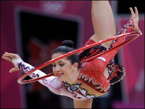 Israel's Neta Rivkin performs during the rhythmic gymnastics individual all-around final.