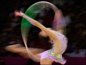 South Korea's Son Yeon-jae performs during the rhythmic gymnastics individual all-around final.