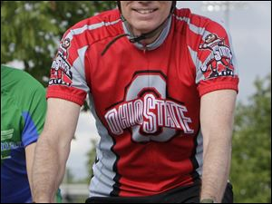 U.S. Sen. Rob Portman (R., Ohio) rides in a fund-raiser in Columbus. After the ride Saturday, he called Paul Ryan 'a great choice.'