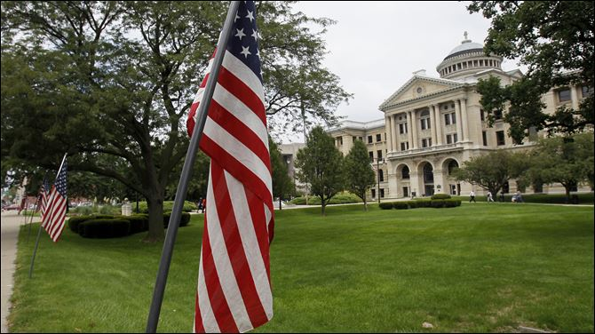 VJ Day flags courthouse 2012 American flags surround Lucas County courthouse Tuesday in remembrance of of VJ Day.