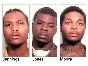 Keshawn Jennings, 20, Antwaine Jones, 18, and James Moore, 20, are all charged with third-degree felony obstructing justice in connection with a shooting at Moody Manor that killed a 1-year-old girl and injured a 2-year-old girl.