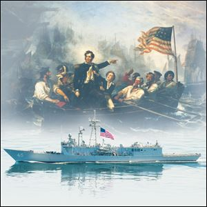 "This illustration shows the USS De Wert, below, one of the ships scheduled to visit Toledo during Navy Week, and William Powell's 1865 painting ""Perry's Victory on Lake Erie,"" which depicts Commodore Oliver Hazard Perry moving from the Brig Lawrence to the Brig Niagra."