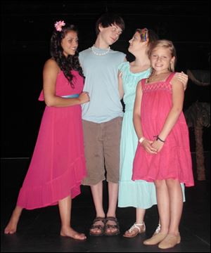 From left, Alexis Abou-Arraj, Johnathon Crawford, Emma Koralewski, and Kathryn Riddle in a scene from the Young Rep production of 'Once on this Island, Jr.'