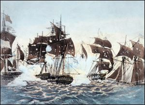 Commodore Oliver Hazard Perry''s defeat of a British fleet on Lake Erie during the War of 1812, depicted in this painting titled