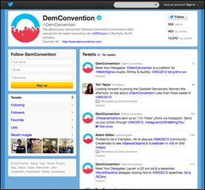 The Democratic National Convention Committee's Twitter feed is at twitter.com/DemConvention.