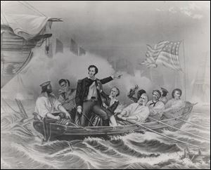 Many paintings, including this one, depict Oliver Hazard Perry during the battle. But the replica of the pulling boat won't be an exact imitation of an artwork. .