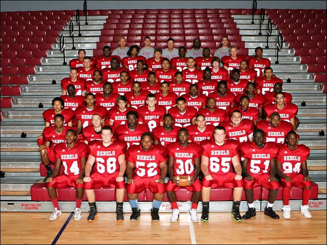 Bowsher Rebels 2012 team FROM LEFT: Row 1: Devyn Allen, Matt Fields, Oshea Feemster, Pharoah Reid, Luke Fields, Steven Allen, Frank Rush Row 2: Kenny Jones, Ari Baer, Koresion Barron, Dre King, Angelo Faust, Mike Cornell, Le'Jai Darrington Row 3: Donivan Clark, Donovan Horton, Kolton Davis, Mac Jewell, Steve Johnson, Lamar Smith, Ja'Sean Howard, Bryan Johnson Row 4: Adam Latimer, Marcion Harris, Jayden McClain, Vince Hill, Alontae Feemster, Ty'Shawn Rodgers, Kourtland Young, Raynard Hurst Row 5: Jesse Orosco, Marlino Menchaca, Desmond Taylor, Semaj Simmons, Chaz Hicks, Phoenix Reid, Tim Booth, Dan Waters Row 6: Steven Wood, Sur Hollowell, Raphael Taylor, Chris Hicks, Torrian Brown, Nick Boone, Chris Washington Row 7: Natividad Castro, Justice Saterfield, Tre Davis, Brenden Walker, Khane Collins, Diak Mack, Austin Foster, Chris Suddeth Row 8: Head coach Craig Lubinski, assistant coaches Donald Malloy, Randy Bartz, Rob Peace, Dan Chipka