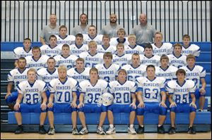 FROM LEFT: Row 1: Brock Thiel, Ben Brown, Dakota Parrish, Reid Bowling, Matt Cook, and Wyatt Walkowski Row 2: Jordan Whittaker, Alex Baker, Trevor Green, Mike Peeples, Levi Lemmon, Wyatt Zulch, and Connor Hug Row 3: Floyd Young, Cameron Castillo, Heath Brown, Luke Price, Kenny Ordway, and Kaden Sapp Row 4: Preston Thiel, Tyler Seaman, Landon Bloir, Colton Lyman, Kenny Fish, Trey Walz, Ray Ziegenbusch Row 5: Graeden Rupp, Jordan Stuart, and Nick Livengood Row 6: Assistant coach Larry Thiel, Assistant coach Jason Bloir, Head coach Scott Staten, and Assistant coach Jay Klingler