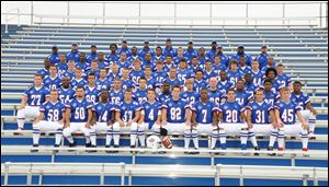 FROM LEFT: Row 1: Joshua Lord, Codie Cullum, Michael Baker, Corbin Kirk, Ben Steedman, Ty Shy,Walter Phillips, Billy Lonsway. Row 2: Ian Martin, Micah Sanders, George McIlwain, James Bruce, Bryan Pack, Samuel Beach, Kyle Young, Joey Wurzelbacher, Kamal Smith, Devon Gant, Shaun Davis. Row 3: Connor Crayne, Kurt Metz, Kory Petiniot, Navada Parker, Blake Neptune, Ross Lonsway, Elijah Todd, Terrance Cole Jr., Jalen Harris, Rickey Griffin. Row 4: Tyson Proctor, Dutch McNamara, Jacob Ridley, Blake Rotterdamn, Alex Firsdon, Gunner Harper, Brandon France, Brandon Grohnke, Alex Engelhardt, Jesse Ochoa, Kelsey Brown Row 5: Warriclo Boaston, Melvin Wells, Aren Harris, Charles Smith, Robert Prior, Tevin Stuart, Alex Rosales, Kevin McLemore, Davion Burton. Row 6: AJ Harrison, Maricus Garmon, Jasean Fisher, Scottie Seymour, Davion Burton