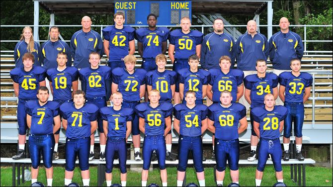 Whiteford High School Varsity Football 2012 FROM LEFT: Row 1: Josh Kunz, Kevin Kaufman, Collin Lake, George Vergote, Joel Holtz, Evan Armistead, B