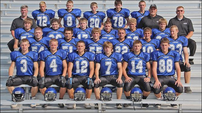 spt DANBURY HS FOOTBALL.jpg FROM LEFT: Row 1: Branden Bahnsen, Cody German, Jim Chamberlin, David Gast, Zach Kalinoski & Chance Mackall. Row 2: John McClellan, Austyn Morin, Tyler Dray, Keegan Rakosky, Caleb Gerber, Taylon Molnar. Row 3: Shay Rickard, Kyle Grubb, Jon Brooks, Mike Stys, James Dorko, Cooper Eller. Row 4: Coach Tim Heffernan, Cameron Sherry, Donnie McCune, Dylan Harris, Marcus Funderwhite, Jacob Kuebler, head coach Bryan Dudash, coach Jeff Lewis.