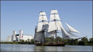 The Brig Niagara arrives for Navy Week, part of the Navy's summer tour of six cities along the Great Lakes.