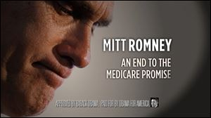 A screen grab from President Obama's  campaign ad suggests that Mitt Romney would break the promise of Medicare and replace benefits with a voucher.
