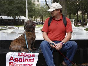 Robert Berg of Sarasota, Fla. looks at his dog during a Dogs Against Romney protest.