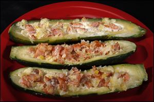 Stuffed zucchini and smoked salmon.