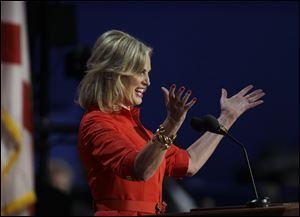 Ann Romney, wife of U.S. Republican presidential nominee Mitt Romney, addresses the Republican National Convention in Tampa, Fla., on Tuesday.