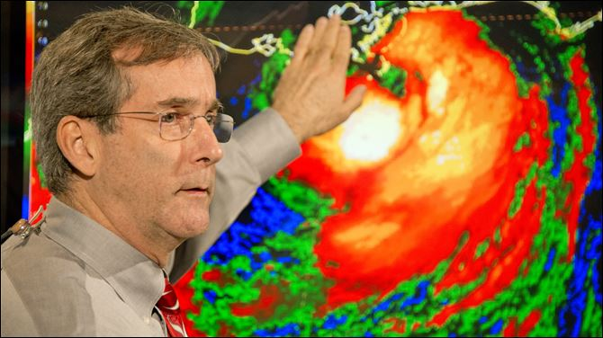 National Hurricane Center Deputy Director National Hurricane Center Deputy Director Ed Rappaport briefs a national television audience on the progress of Hurricane Isaac Tuesday, at the NHC in Miami. Isaac made landfall along the Louisiana coast of Plaquemines Parish,  just southwest of mouth of the Mississippi River. The storm was classified as a Category 1 hurricane with 80 mph sustained winds.