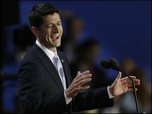 Republican vice presidential nominee, Rep. Paul Ryan speaks to delegates during the Republican National Convention in Tampa.