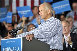 Vice President Joe Biden speaks during a campaign stop at the United Auto Workers Local 1714 Union Hall in Lordstown, Ohio.