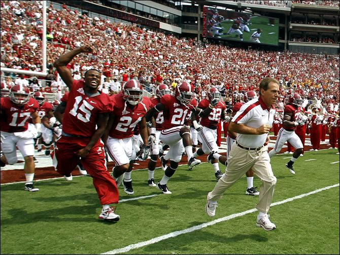 Nick Saban will lead Alabama Nick Saban will lead his Alabama Crimson Tide onto the field Saturday night to face Michigan. Saban and Alabama won the Bowl Championship Series title last season. It was Saban's third BCS title.