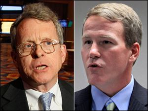 Attorney General Mike DeWine, left, and Ohio Secretary of State Jon Husted.