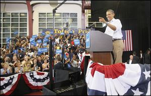 President Barack Obama campaigns at Scott High School in Toledo.